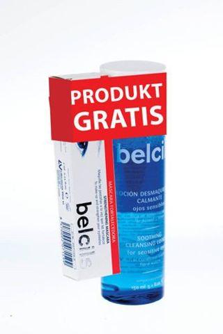 BELCILS Zestaw Łagodzący tonik do demakijażu oczu 150ml + maskara wzmacniająca do rzęs z udziałem wód kwiatowych 7ml GRATIS