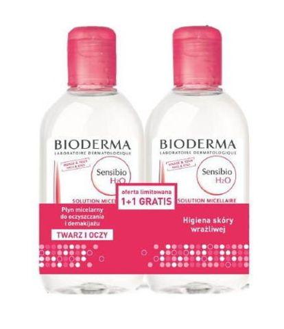 BIODERMA Sensibio H2O Płyn micelarny do oczyszczania twarzy DUOPACK 2 x 250ml