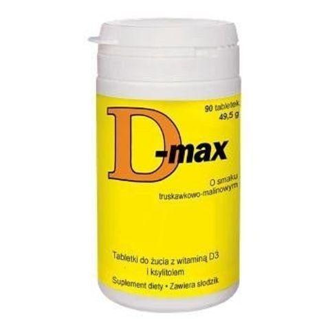 D-MAX 10mcg x 90 tabletek do żucia o smaku truskawkowo-malinowym