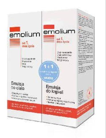EMOLIUM Emulsja do ciała 200ml + Emulsja do kąpieli 200ml GRATIS