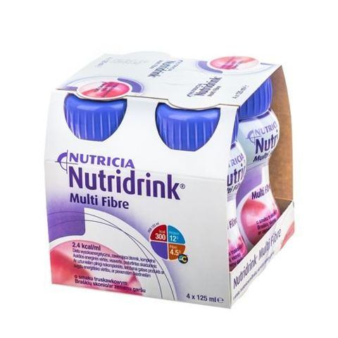 NUTRIDRINK Multi Fibre o smaku truskawkowym 4 x 125ml