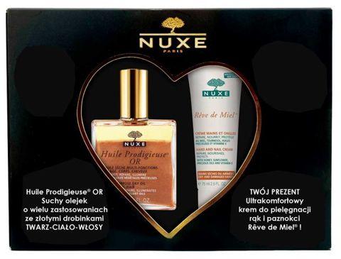 NUXE Huile Prodigieuse OR 100ml + Ultrakomfortowy krem do rąk i paznokci Reve de Miel – 75 ml
