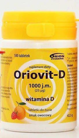 ORIOVIT-D 1000 j.m. 25 µg x 100 tabletek do żucia