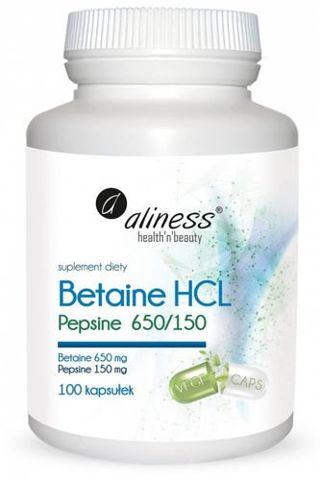 ALINESS Betaine HCL Pepsyna 650/150 mg x 100 kapsułek