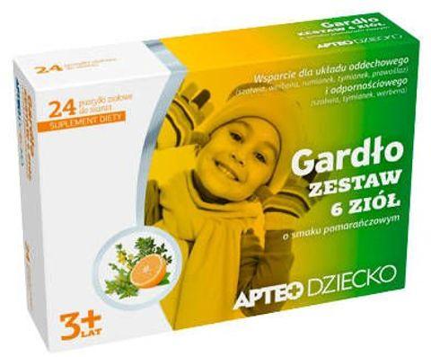 APTEO DZIECKO Gardło zestaw 6 ziół o smaku pomarańczowym x 24 pastylki do ssania