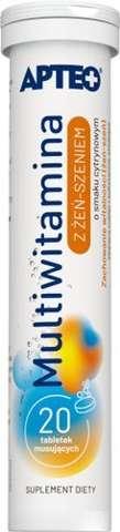 APTEO Multiwitamina z żeń-szeniem o smaku cytrynowym x 20 tabletek musujących