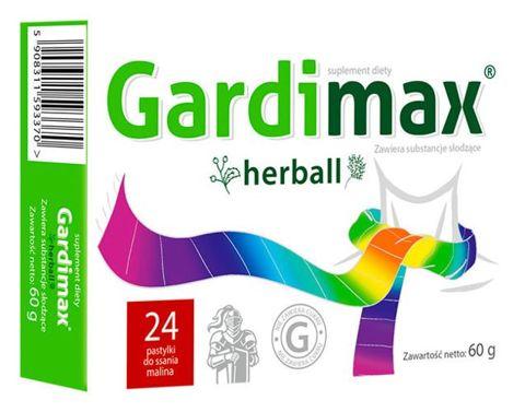 GARDIMAX HERBALL x 24 pastylki do ssania malinowe